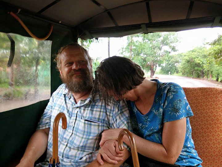 Glenn & Michele, wet but happy in the tuk-tuk